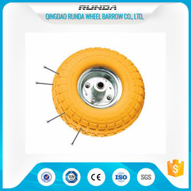 "China Anti Loose Air Foam Filled Wheelbarrow Tires 10""X3.50-4 Metal Rim Comb Pattern supplier"