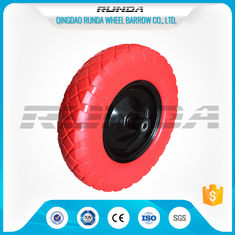 China 90mm Hub Length PU Foam Wheel 16inch No Air 20mm Bore Hole Carbon Steel Bearing supplier