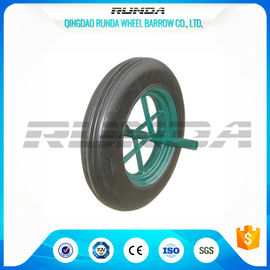 China Line Pattern Solid Rubber Wheelbarrow Wheels14 Inch Hollow Axle Powder Coated Rim supplier