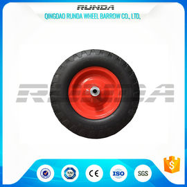 China Steel Rim Heavy Duty Swivel Caster Wheels Blocky Pattern 30 PSI 400mm Size supplier