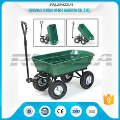 China Green Color Garden Dump Wagon Plastic Material Tray Load Capacity 150kg supplier