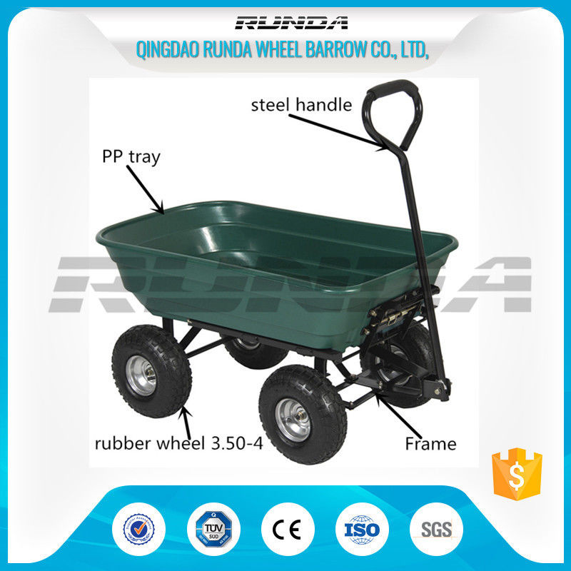 Exceptional China Outdoor Dumper 4 Wheel Garden Cart Trolley Plastic Side Panels TC2145  For Farmer Supplier