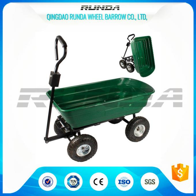 Green Color Garden Dump Wagon Plastic Material Tray Load Capacity 150kg
