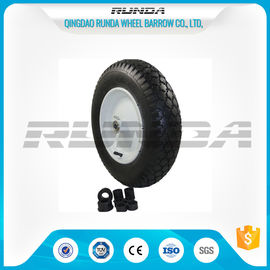China Super Elasticity Heavy Duty Rubber Wheels 4.00-8 , Rubber Caster Wheels Metal Rim factory
